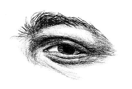 tekening van een oog met zware overkoepelende brow Vector Illustratie