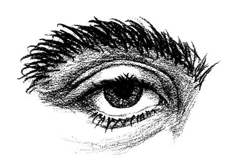 Pencil drawing of an eye with thick eyebrow and heavy eyelid