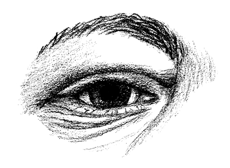 Hand drawn eye with arching eyebrow and wrinkles Ilustração