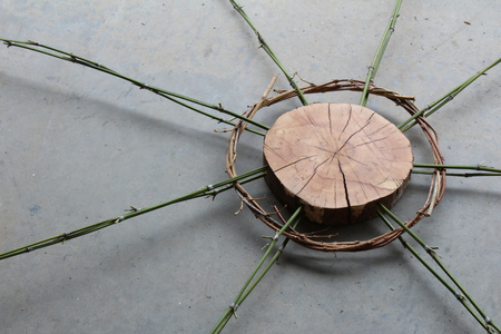 grey pattern: Nature art sculpture of wood, vines, and bamboo, oblique view