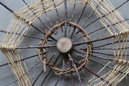 original ecological: Natural wood, vines, and twine art construction Stock Photo