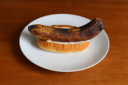 Overripe banana with mayonnaise in a bun
