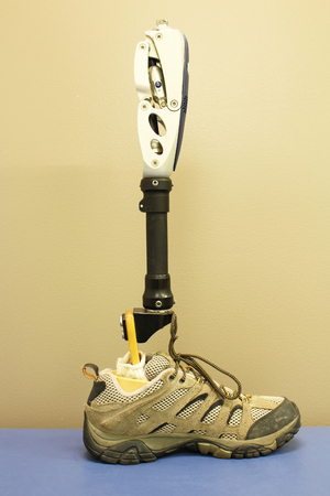 Partial leg prosthesis with mechanical knee Stock Photo