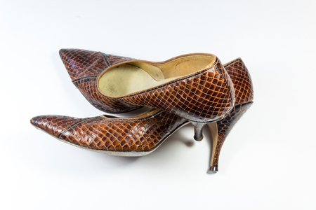 Composition with vintage women's brown snakeskin shoes, one over the other, on white, horizontal aspect Reklamní fotografie - 91240709