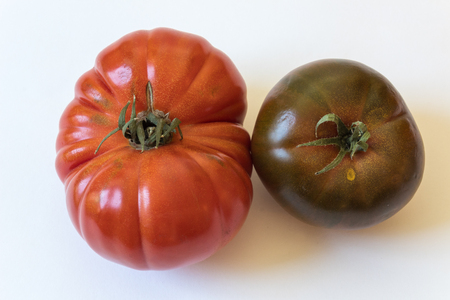 Large Cherokee purple and Montserrat type organic heirloom tomatoes isolated on white, food ingredients, horizontal aspect Stock Photo