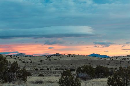 Beautiful New Mexico sunrise over winter landscape, Magdalena, copy space, horizontal aspect