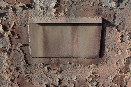 Background of rusted metal, peeling texture with creative copy space center, horizontal aspect Stockfoto