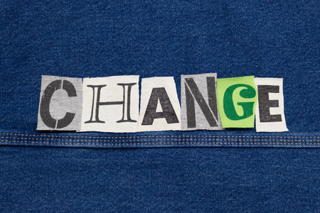 CHANGE word collage from cut out tee shirt letters, corporate growth, horizontal aspect