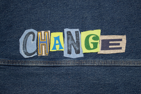 CHANGE word collage from cut out tee shirt letters, cool colors, horizontal aspect