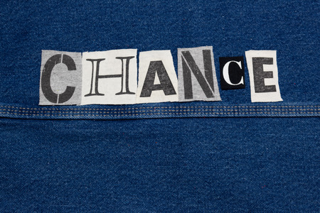CHANCE word collage from cut out tee shirt letters, copy space, horizontal aspect Imagens - 123509158