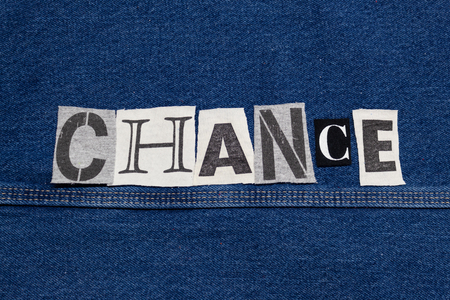CHANCE word collage from cut out tee shirt letters, horizontal aspect