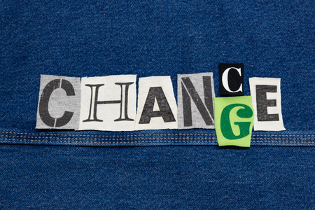 CHANCE - CHANGE word collage from cut out tee shirt letters, corporate growth, horizontal aspect