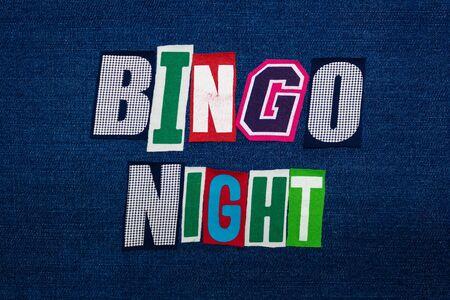 BINGO NIGHT word text collage, multi colored fabric on blue denim, game night concept, horizontal aspect