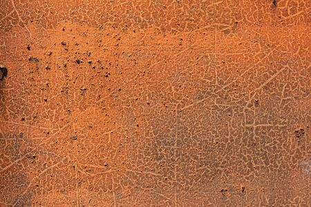 Rusted steel background, orange and brown oxidized metal, copy space, horizontal aspect