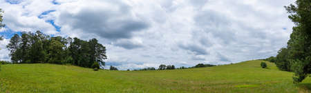 Rolling green meadows and emerald green hillside panorama with trees and stormy clouds, creative copy space, horizontal aspect