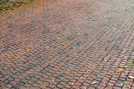 Background of red square brick street, perspective, fall leaves, horizontal aspect 版權商用圖片