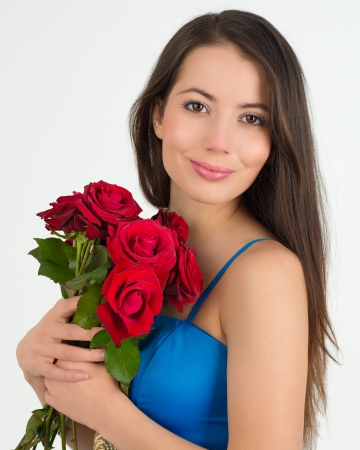 advertising woman: Woman with flowers