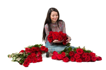 flowergirl: Brunette woman with a big bouquet of red roses