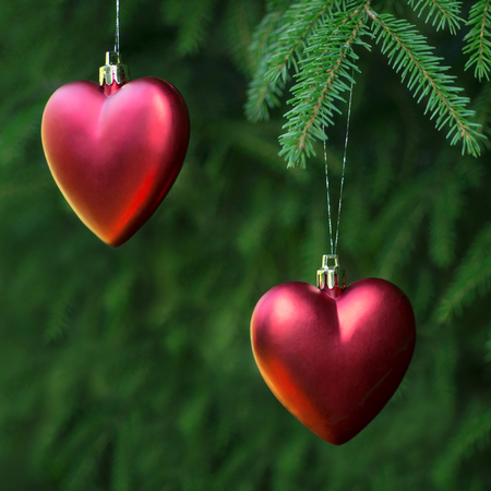 Christmas decoration two hearts photo