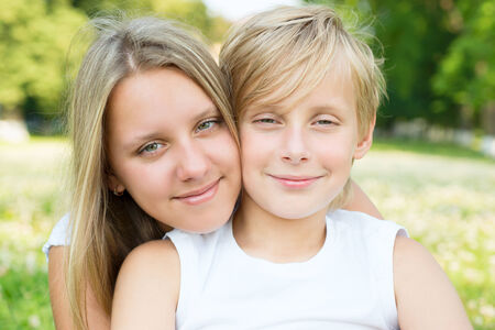 Portrait of boy and girl close-up Stock Photo - 24173349