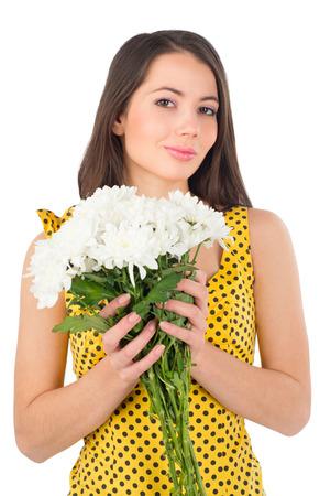 Beautiful woman with chrysanthemums   Stock Photo