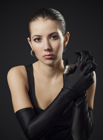 black gloves: Woman in Black Gloves with Ring Joint