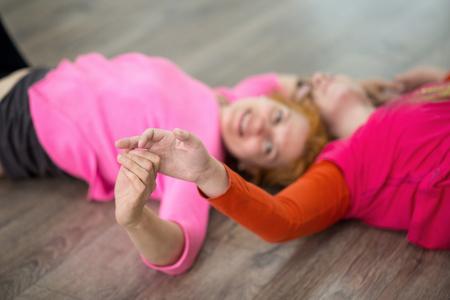 Two women dancing dance contact improvisation