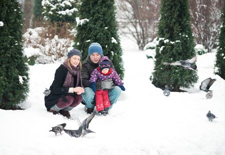 Family with a small child walks in the park in winter and feeds pigeons Stock Photo