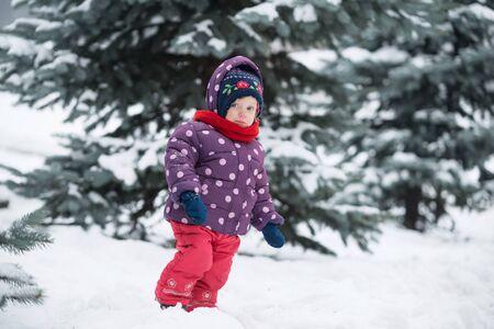 Little girl walks in the winter in the park