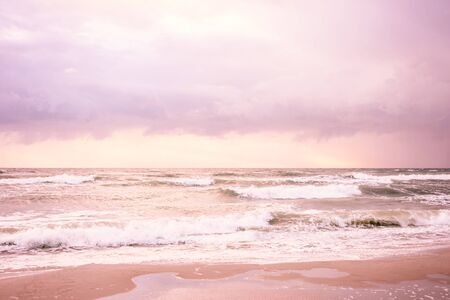 Stylized Sea with waves of pink color