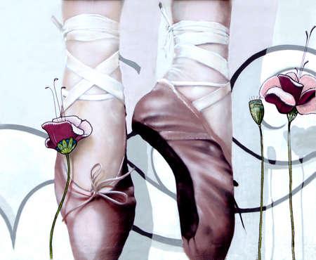 silky: Ballet footwear in an elegant pose
