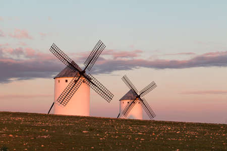 Windmills at dusk in the land of El Quijote