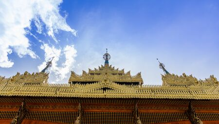 Temple gold roof with blue sky