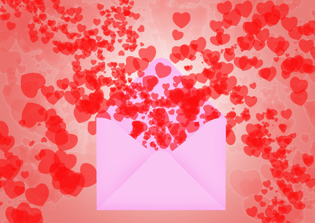 Pink Envelop with hearts  flying out for valentines day Stok Fotoğraf