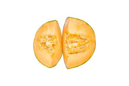 Fresh Rockmelon on white background