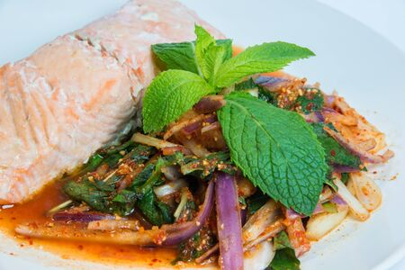 Delicious and Spicy Thai Larb Salmon