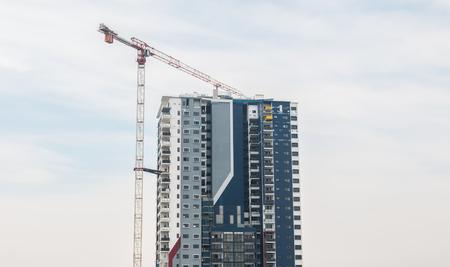Construction work site with crane Stok Fotoğraf