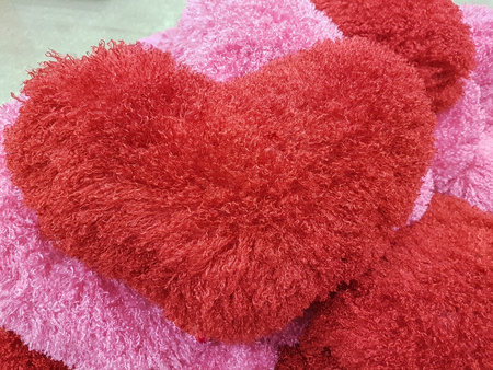 red and pink plush heart cusion, valentine