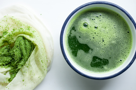 Pandan Juice is an ingredient in Thai dessert. Stock Photo