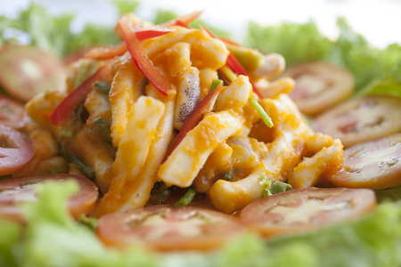 Fried Squid with Salted Egg Stock Photo