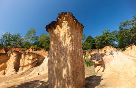 Pae Muang Pee Forest Park It is a sandstone mountain caused by the erosion of water for a long time. And one of Unseen Thailand. Stock Photo