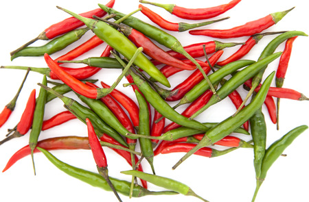 Pepper Red,Green (Capsicum) is a spicy, spicy taste used in cooking in Asia. And also used as herbs. White background Stock Photo