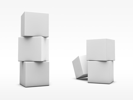 Stack of white cubes on white background. 3D render with clipping path.