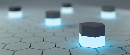 ambient: Abstract hi-tech background with hexagons around and ambient blue light sources. 3D render.