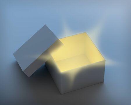 Open doos met magische licht stralen van binnenuit. 3D geef met het knippen van wegen nodig.