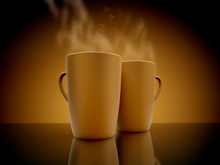 steaming coffee: Coffee mugs steaming. On the mirror surface. 3D render.