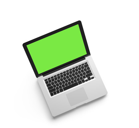 netbooks: Open laptop isolated on white background. Top view. 3D render.