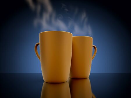 steaming coffee: Two coffee mugs steaming. On the mirror surface. 3D render.