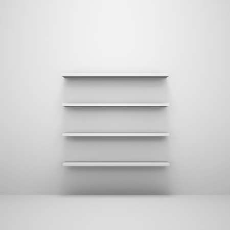 few: Few shelves on white wall. Paste your product. Stock Photo