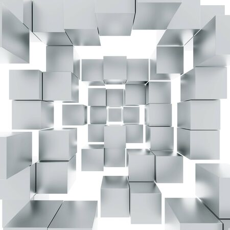 in a row: Cubes isolated on white. Abstract illustration.